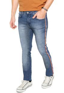 Calça Jeans Calvin Klein Jeans Skinny Listras Laterais Azul