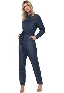 Macacão Jeans Colcci Jogger Azul