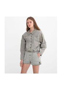 Jaqueta Cationizada Em Sarja Com Recortes | Blue Steel | Cinza | M