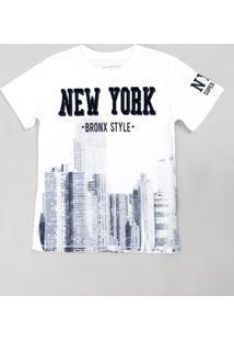 """Camiseta Infantil """"Bronx Style"""" Manga Curta Gola Careca Off White"""