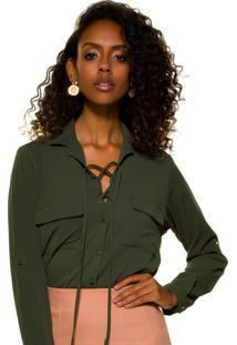 Camisa Verde Militar Com Amarração