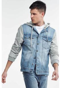 Jaqueta Jeans Masculina Regular Com Mangas E Capuz Em Moletom