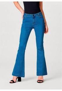 Calça Jeans Hering Modelagem Flare Com Elastano Feminina - Feminino