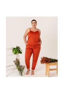 Calça Jogger Lisa Em Suede Curve & Plus Size | Ashua Curve E Plus Size | Laranja | Gg