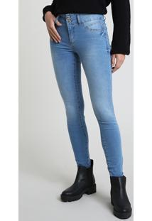 Calça Jeans Feminina Sawary Skinny Pull Up Cintura Alta Azul Claro