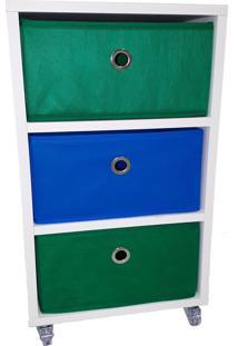 Criado Mudo 3 Caixas Organizadoras Verde Azul - Tricae