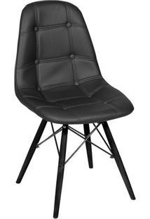 Cadeira Eames Botonê- Preta & Madeira Preta- 83X44X3Or Design