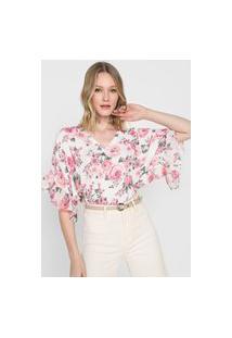 Blusa Lança Perfume Floral Branca/Rosa
