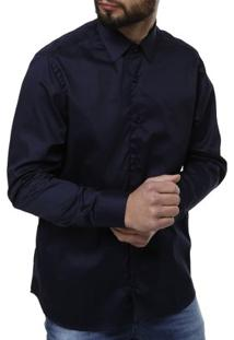 Camisa Manga Longa Masculina - Masculino-Marinho