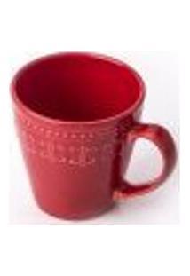 Xícara Caneca Corona Relieve Cerâmica Café 300Ml Vermelha