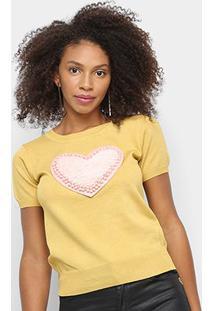Blusa Tricô Sofia Fashion Coração Feminina - Feminino-Amarelo