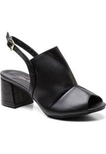 Sandália Miss Bela Ankle Boot Salto Grosso Médio Feminina - Feminino-Preto