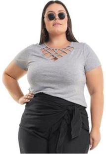 Blusa Viscolycra Com Transpassado De Tiras Miss Masy Plus Size - Feminino-Cinza