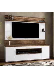 Rack Com Painel Para Tv Allegra Até 52'' Branco/Canela Rústico - Colibri Móveis