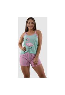 Pijama Baby Doll Flamingo Feminino Curto Malha Pp Personagem Adulto Alça Fina Barato