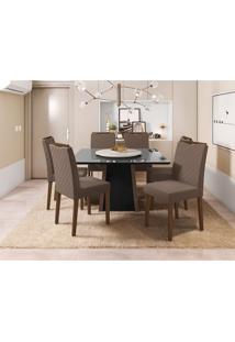 Conjunto De Mesa De Jantar Com Tampo Giratório Júlia E 6 Cadeiras Munique Veludo Preto E Amêndoa