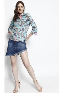 Camisa Arabescos- Azul Claro & Rosa- Intensintens