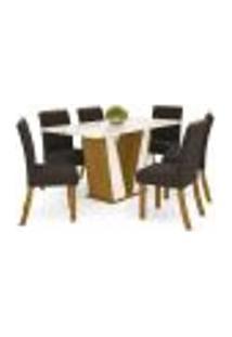 Mesa De Jantar Garda 160Cm 6 Cadeiras Vega - Nature/Off White/Marrom