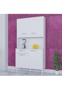 Cozinha Compacta 4 Portas 1 Gaveta Kit Carine 467 Branco - Poquema