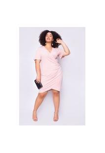 Vestido Almaria Plus Size Ela Linda Malha Rosa