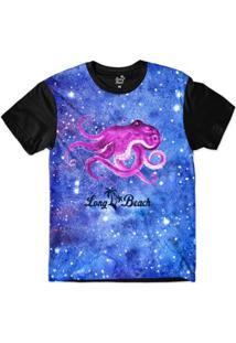 Camiseta Long Beach S Aquarela Polvo Sublimada Masculina - Masculino