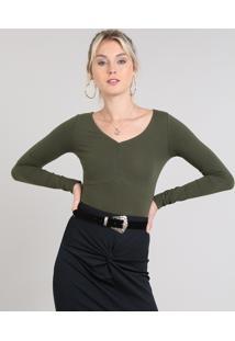 Blusa Feminina Básica Decote V Com Franzido Verde Escuro