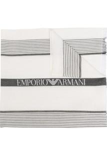 Emporio Armani Echarpe Com Estampa De Logo - Branco