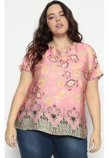 Blusa Acetinada Floral- Rosa & Laranja- Cotton Colorcotton Colors Extra