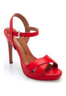 Sandalia Super Alto Traseiro Aberto Vermelho