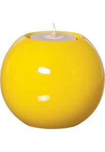 Castiçal Bella De Cerâmica 12Cm Amarelo Mazzotti
