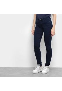 Calça Jeans Skinny Calvin Klein Lisa Cintura Média Feminina - Feminino-Marinho