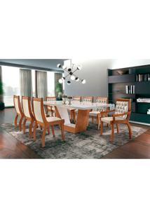 Conjunto De Mesa De Jantar Rubi Com 8 Cadeiras Pérola Ii Veludo Off White E Creme