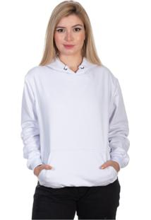 Blusa Moletom Canguru Liso Com Capuz Moda Inverno Selten Branco