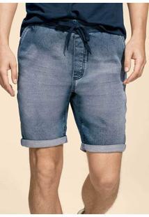 Bermuda Jeans Masculina Em Moletom Denim E Modelagem Jogger