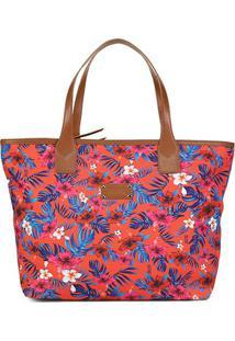 Bolsa Santa Lolla Shopper Tecido Flores-045923A8 - Feminino-Cáqui