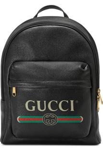 381c1b014 ... Gucci Mochila De Couro Com Estampa Gucci - Preto
