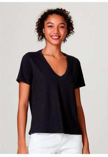 Blusa Básica Feminina Em Algodão Com Decote V Pret