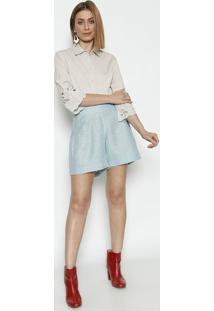 Camisa Com Bordados Aplicados- Bege - ÊNfaseãŠNfase
