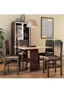 Conjunto De Mesa Com 4 Cadeiras Priscila Tabaco E Floral Escuro