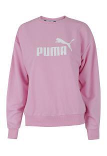 f16ec7be1c Blusão De Moletom Puma Essentials Logo Crew Tr - Feminino - Rosa Claro