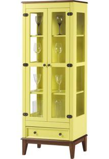 Cristaleira Bia 2 Portas E 1 Gavetas Cor Amarelo Com Amêndoa 180 Cm - 62981 - Sun House