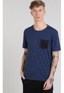 Camiseta Masculina Básica Listrada Com Bolso Manga Curta Gola Careca Azul Royal