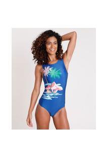 Maiô Body Praia Sem Bojo Com Proteção Uv50+ Azul Marinho