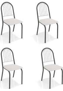 Conjunto Com 4 Cadeiras De Cozinha Noruega Preto E Branco