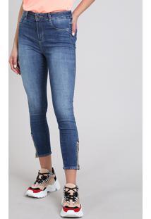 Calça Jeans Feminina Sawary Cropped Skinny Com Zíper Azul Médio