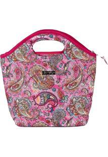 Bolsa Handbag Tecido Mão Forro Impermeável Prática Rosa
