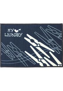 "Tapete ""My Laundry""- Azul Marinho & Branco- 70X50Cm"