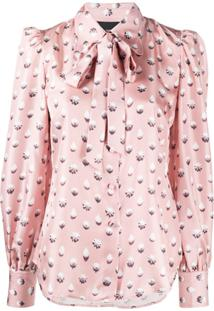 Marc Jacobs Sweet Icing Print Pussy-Bow Blouse - Rosa