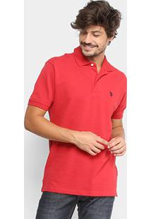 Camisa Polo U.S. Polo Assn Lisa Bordado Masculina - Masculino-Vermelho Escuro