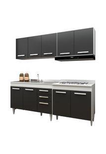 Cozinha Modulada 4 Módulos Composiçáo 5 Branco/Preto - Lumil Móveis